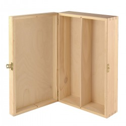 Gift BOX Engraving Double natural with hinges