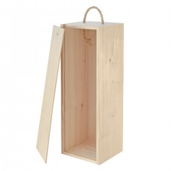 CAJA De Vino De Madera Individual Natural - Grabado - Single Natural