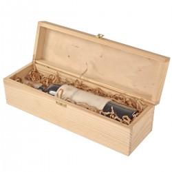 Boîte à vin en bois - Gravure -single natural with hinges